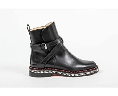a9c25e635123 ... switzerland christian louboutin womens short boot chelsea chain flat  calf brosse bk65 black silver 81190 9478c