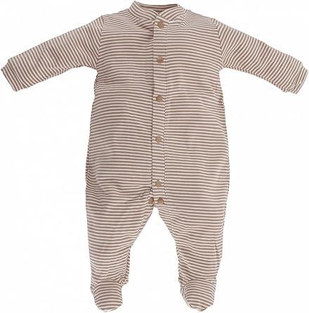 Artesanía Cuadrado - Pijama enterizo de bebé de algodón orgánico de rayas - Talla Unica, Rayas beis y marrones: Amazon.es: Ropa y accesorios