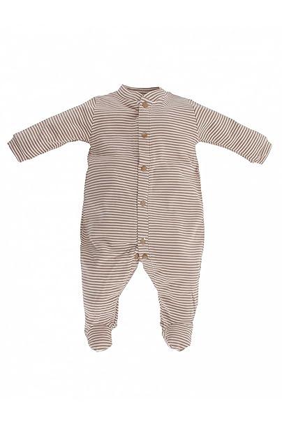 Artesanía Cuadrado - Pijama enterizo de bebé de algodón orgánico de rayas - Talla Unica,