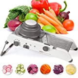Mandoline Slicer Stainless Steel Vegetable Julienner Built-in Adjustable Safe Blades Grater - Veggie Slicer Food - Slicer Mandoline Cutter - Vegetable Cutter, Maker for Low Carb-Free (White)
