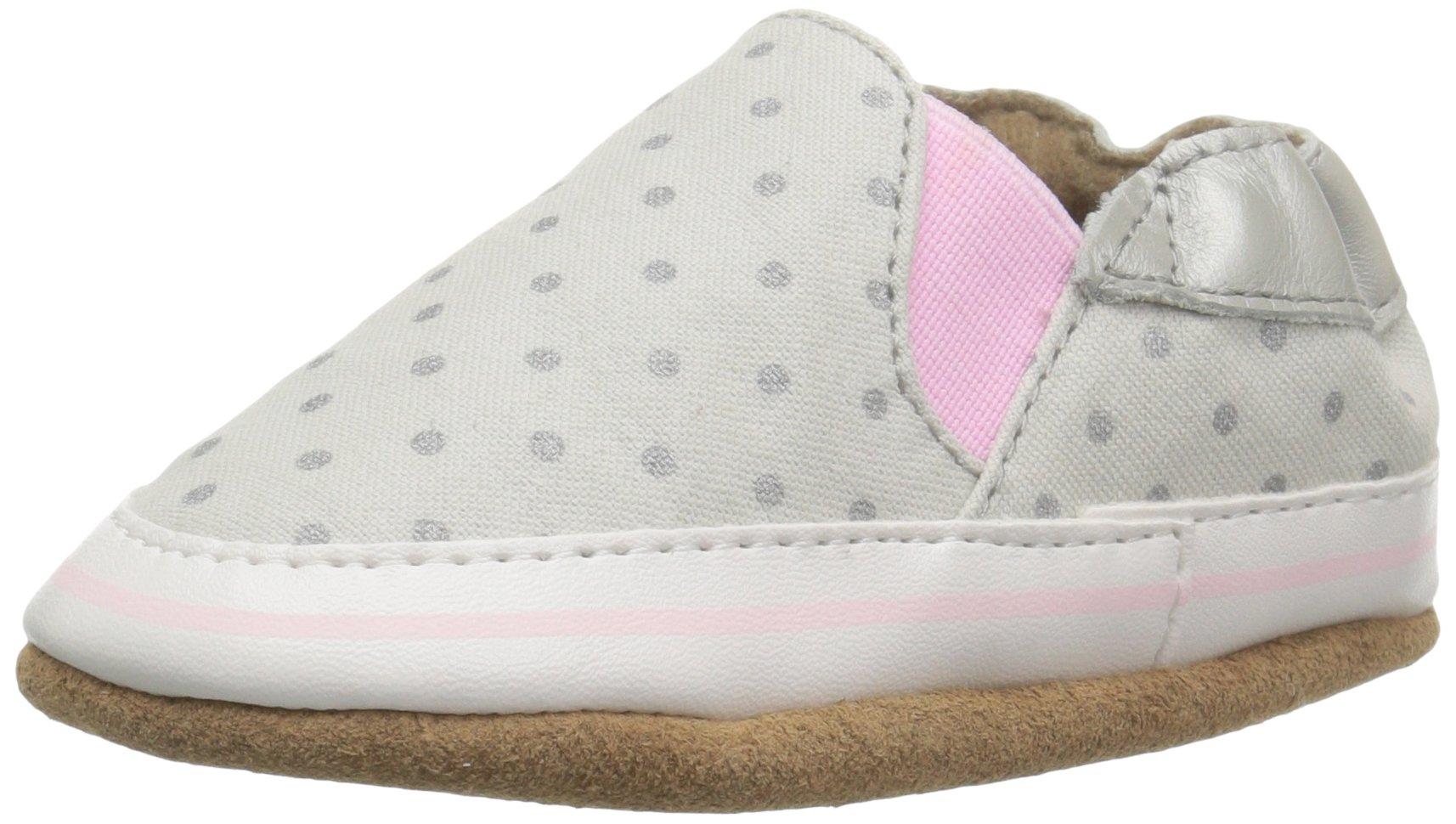 Robeez Girls' Dot Mania Crib Shoe, Dot Mania Metallic/Grey, 12-18 Months M US Infant
