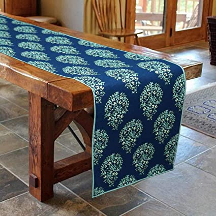 Bilberry Furnshing by Preeti Grover 100% Cotton Blue Paisley Table Runner Size 14x72