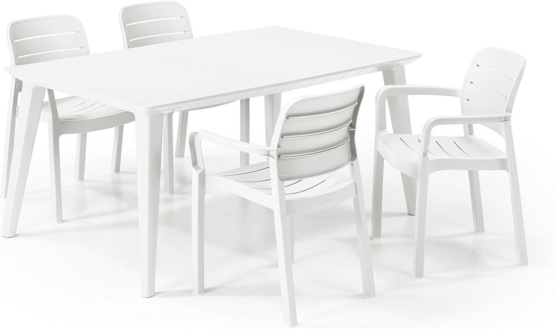 Keter - Set de mobiliario Futura/Tisara (mesa + 4 sillas), color blanco