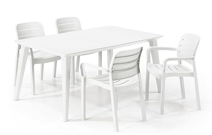 Keter - Set de mobiliario de jardín Lima/Ibiza (mesa + 6 sillas), color blanco