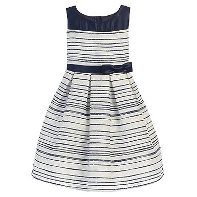 eab7e4202 Amazon.com: Sweet Kids Big Girls Navy Stripe Pattern Woven Satin ...