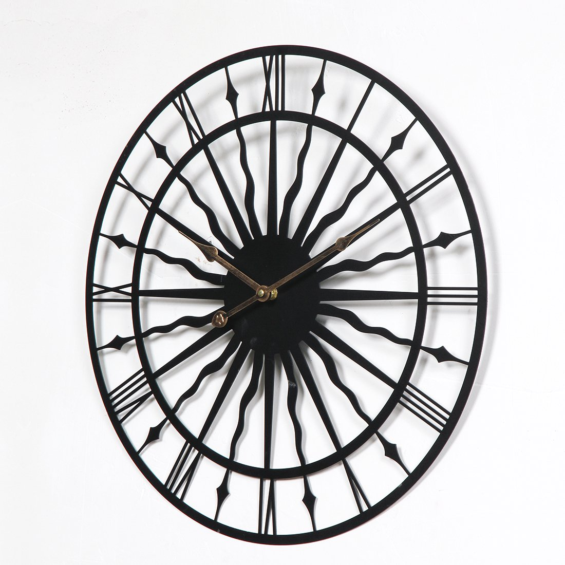Amazon.com: Wall Clock, Lingxuinfo 19.7-inch Creative Retro Round Silent Iron Wall Clock Decorative Clock for Kitchen Living Room Bedroom Office(Wavy Iron) ...