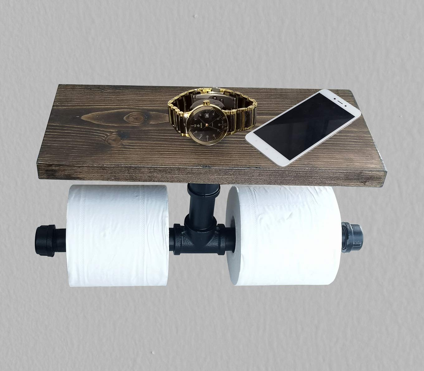 2 Roll Toilet Tissue Paper Holder and Multi-Purpose Shelf for Mobile Phone Storage in Bath,Rustic Style Pipe Design Carbon Black Wood & Black Metal Wall Mounted Bathroom Shelf/Toilet Paper Roll Holder