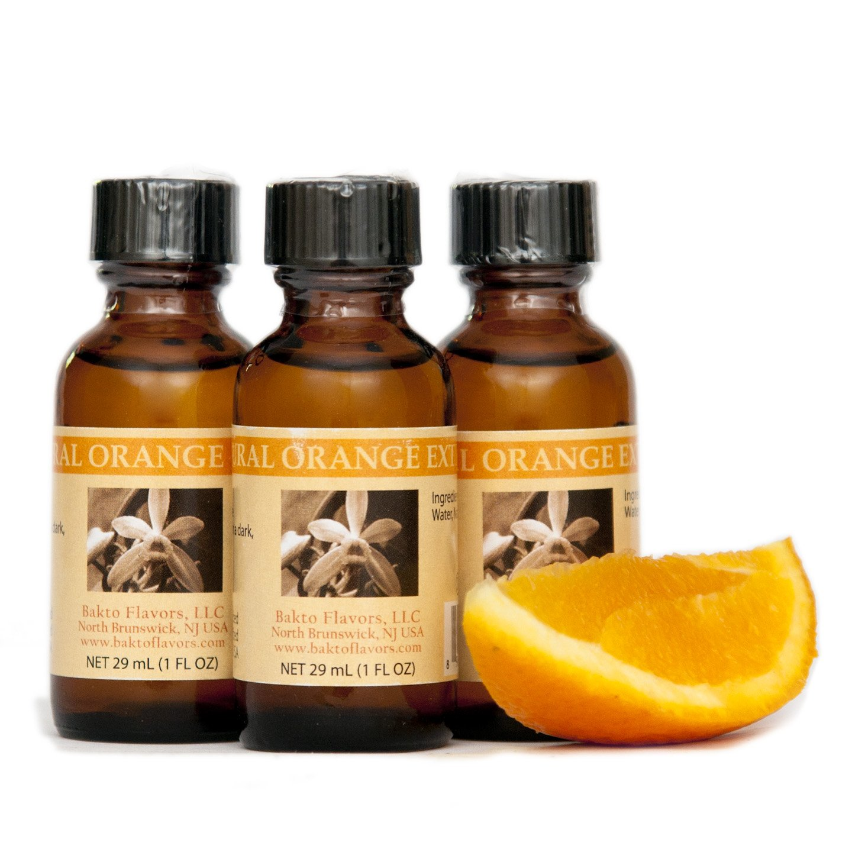 Bakto Flavors Natural Orange Extract (1 FL OZ) Pack of 3