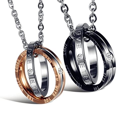 93ae614d3a His & Hers Matching Set Titanium Stainless Steel Couple Pendant Necklace  Korean Love Style with a Lucky Bean | Amazon.com