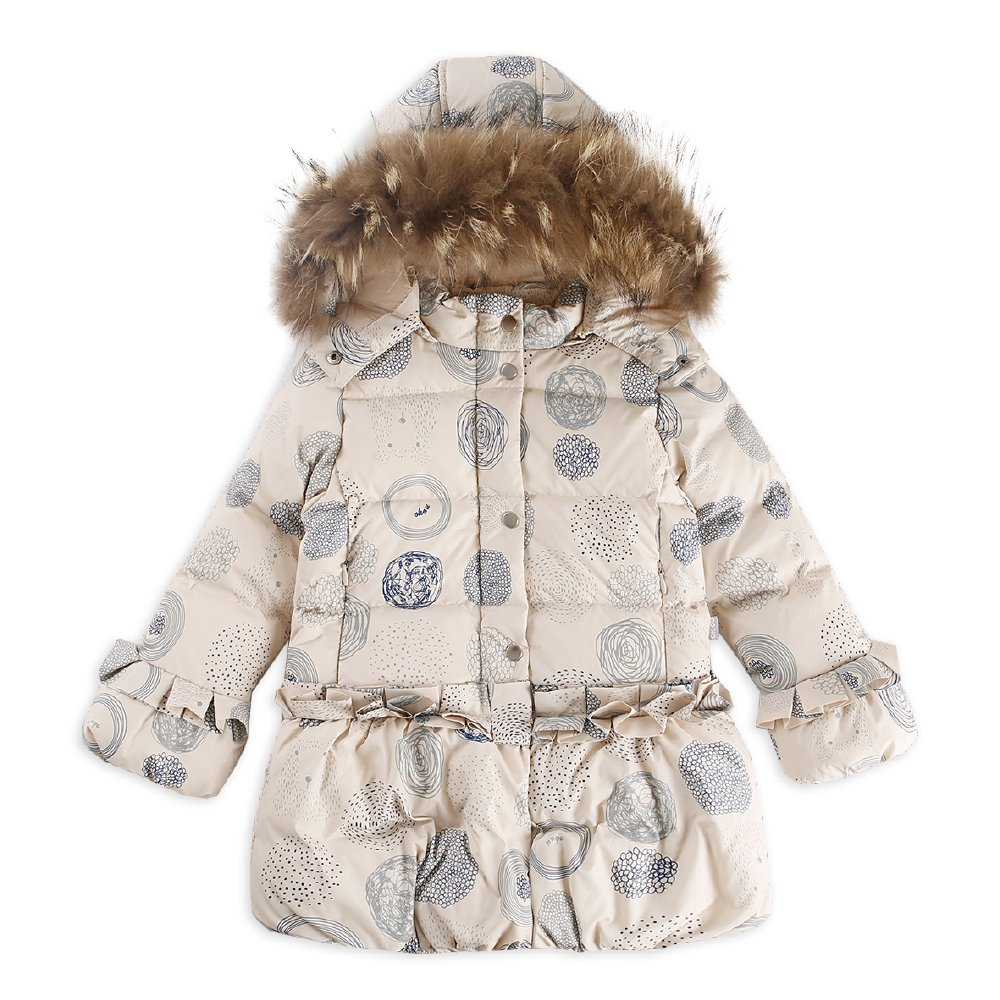 OK.OU Baby Little Girls Long colorful Printing Fur Hooded White Duck Down Overcoat (90%) (5, Beige)