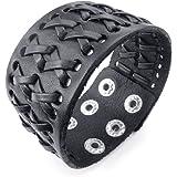 "TEMEGO Jewelry Mens Wide Genuine Leather Bracelet,Punk Rock,Cuff Bangle, Fits 6.5""-7.5"""