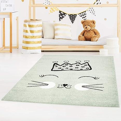carpet city Bubble Kids Tapis pour Enfant à Poils Plats avec Chat et  Couronne Rose, Vert, Gris pour Chambre d\'enfant