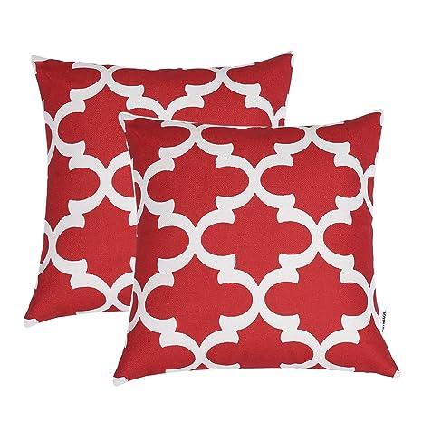 TIDWIACE® Rojo Algodón Lino Fundas de cojín Almohada Cuadrado Decorativa para Camas sofás sillas 18 * 18 Pulgada, 45x45cm Juego de 2,Flor