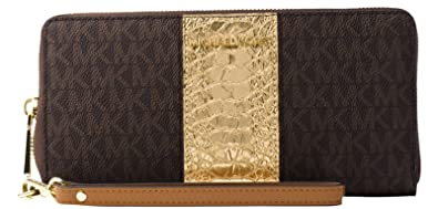 a12979bfbb1274 Image Unavailable. Image not available for. Color: Michael Kors Jet Set  Travel Logo and Embossed-Leather ...