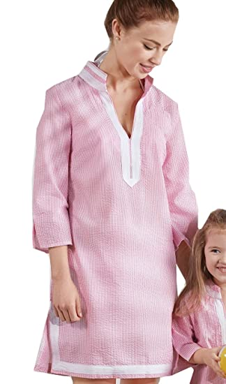 d39e17c2be Mommy & Me Pink Seersucker Women's Cover-Up at Amazon Women's ...