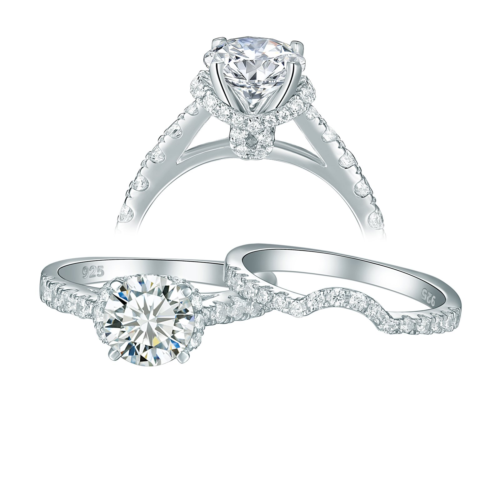 Newshe Jewellery Cz Wedding Rings for Women Engagement Bridal Set Sterling Silver 2ct Princess Size 10