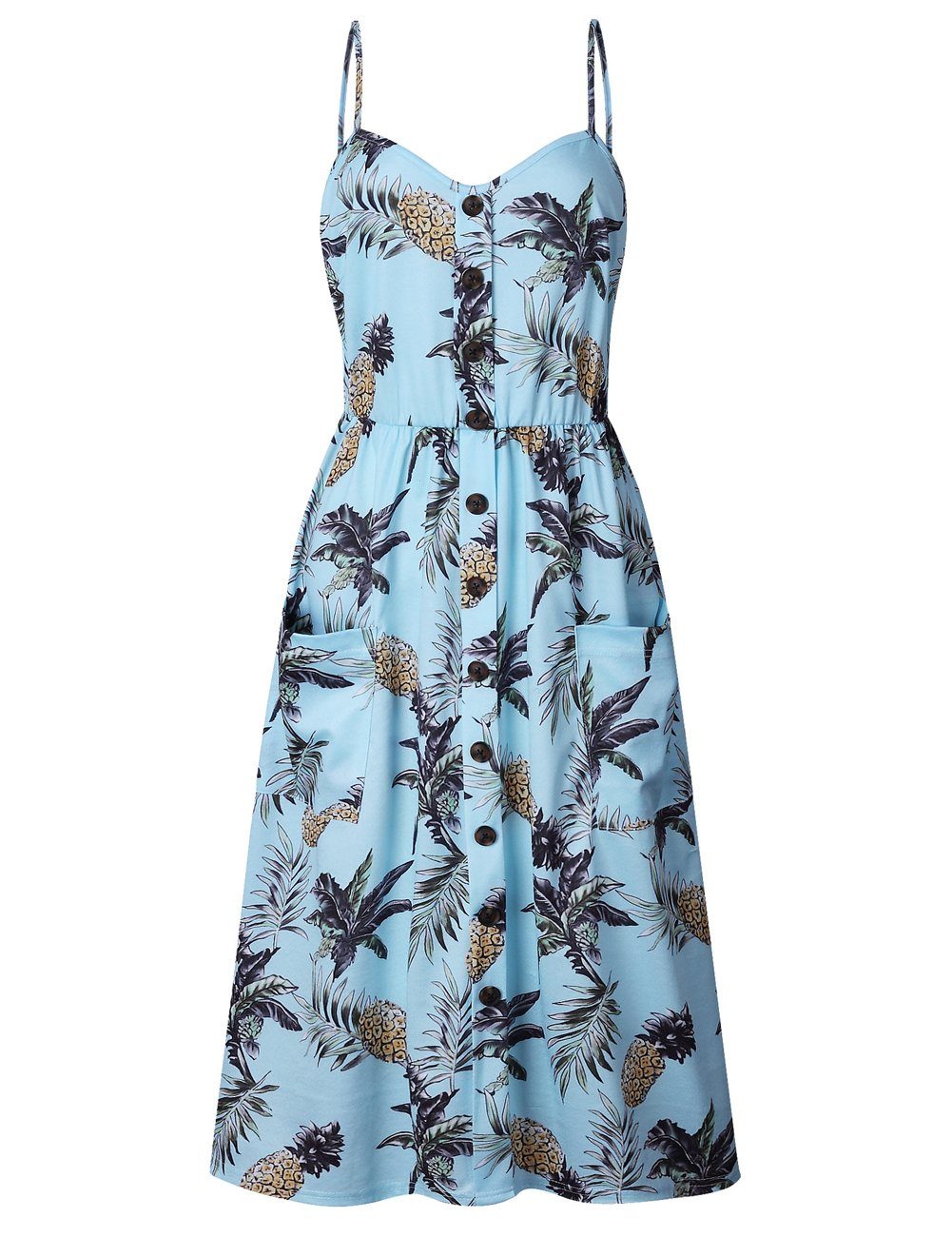 BABAKUD Women's Dresses Summer Light Blue Floral Spaghetti Strap Button Down Midi Dress with Pocket, Size XL