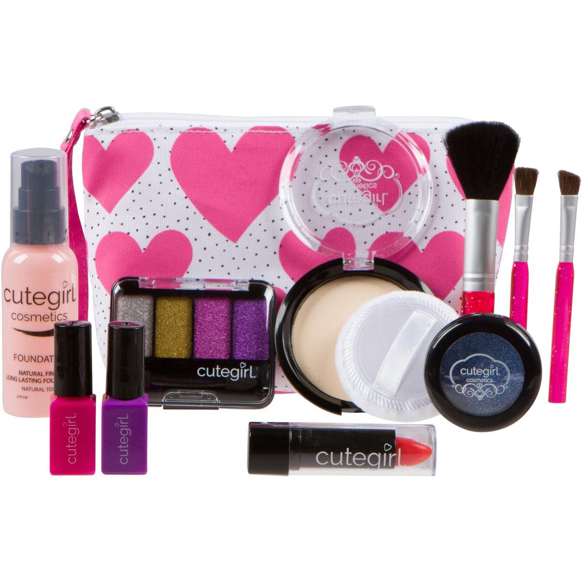 girls makeup kit. cutegirl cosmetics pretend play makeup kit. designer girls hearts essential bag set 50%off kit f