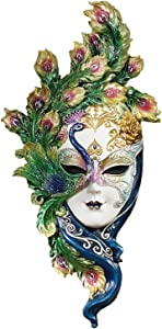 Design Toscano WU74139 Peacock Feather Masks of Venice Wall Sculpture, Full Color