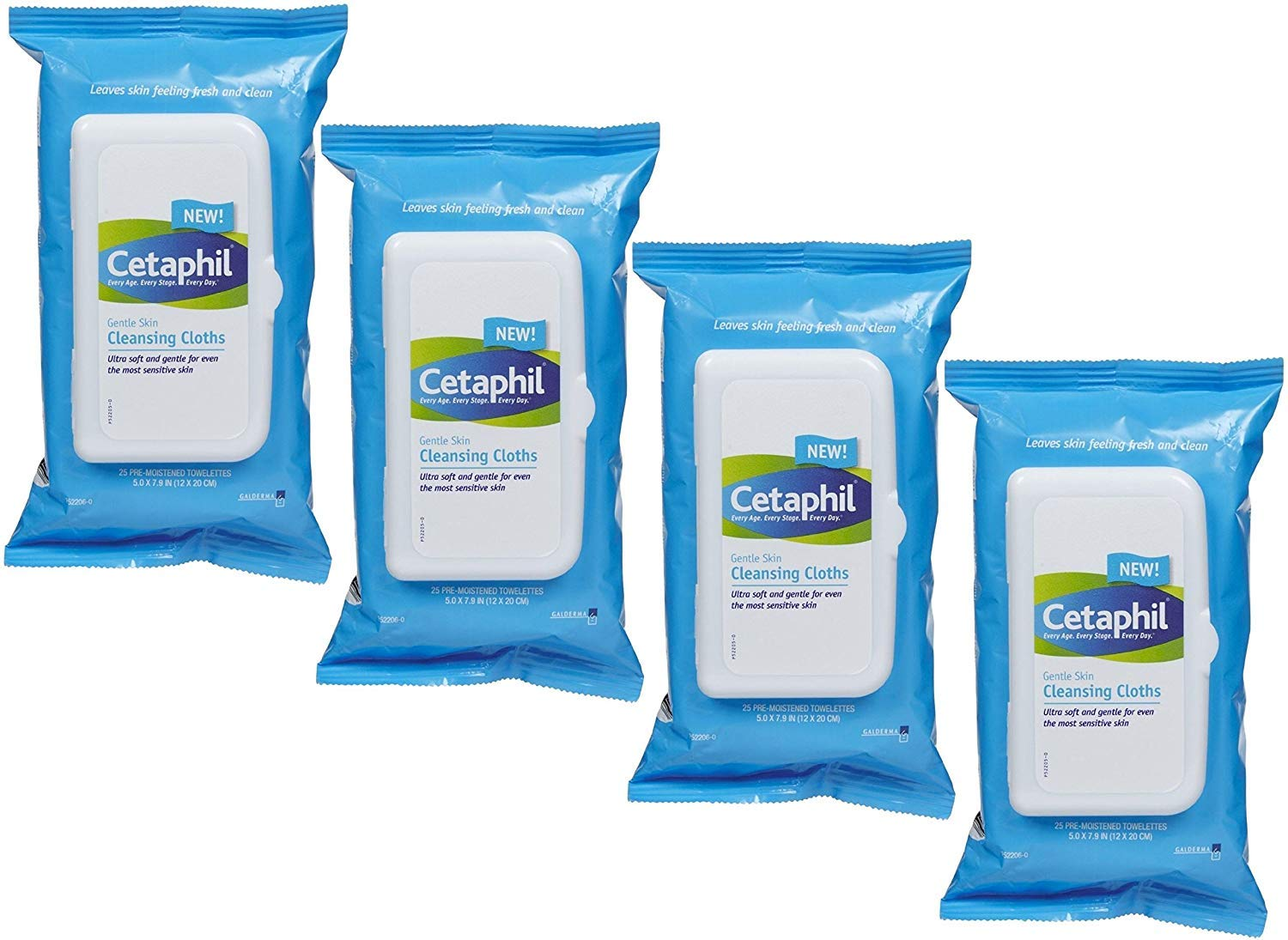 Cetaphil Gentle Skin Cleansing Cloths, 100 Count (4 X 25 Count Packs)