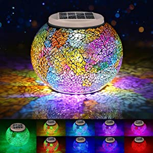 Color Changing Mosaic Solar Lights Outdoor Decorative, Solar Table Lamp Waterproof Multi-Color Led Glasses Night Light for Garden, Party, Bedroom, Patio, Lawn, Indoor, Ideal Gifts