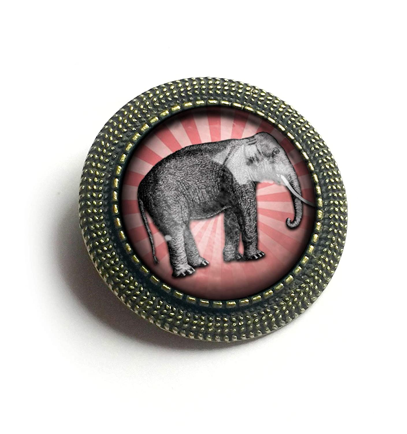 Pink and Gray Elephant Glass and Brass Brooch