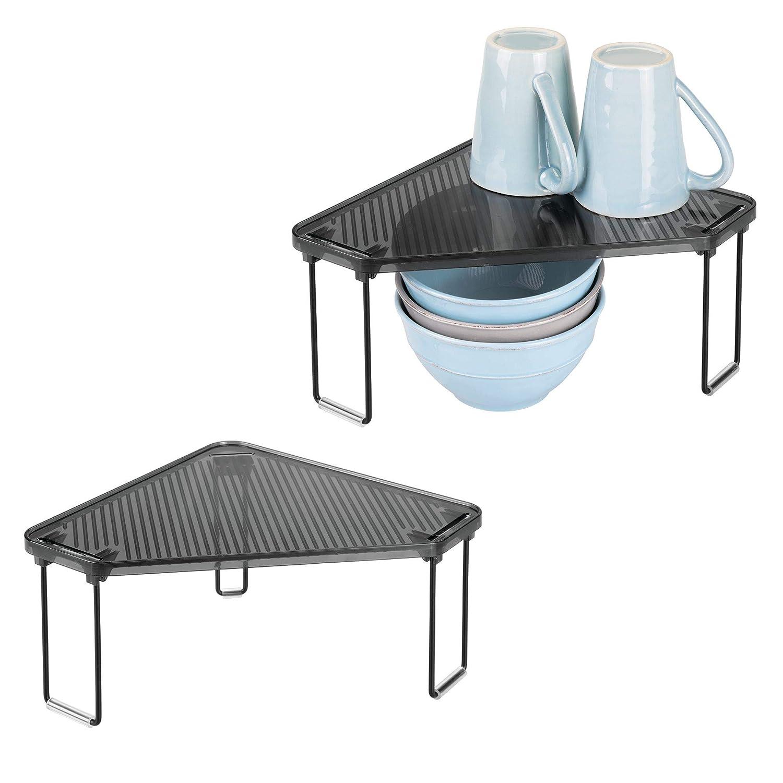mDesign Set da 2 Mensole porta piatti impilabili – Ripiano angolare antiscivolo adatto al piano di lavoro e alla credenza della cucina – Scolapiatti da appoggio – nero/grigio fumo MetroDecor