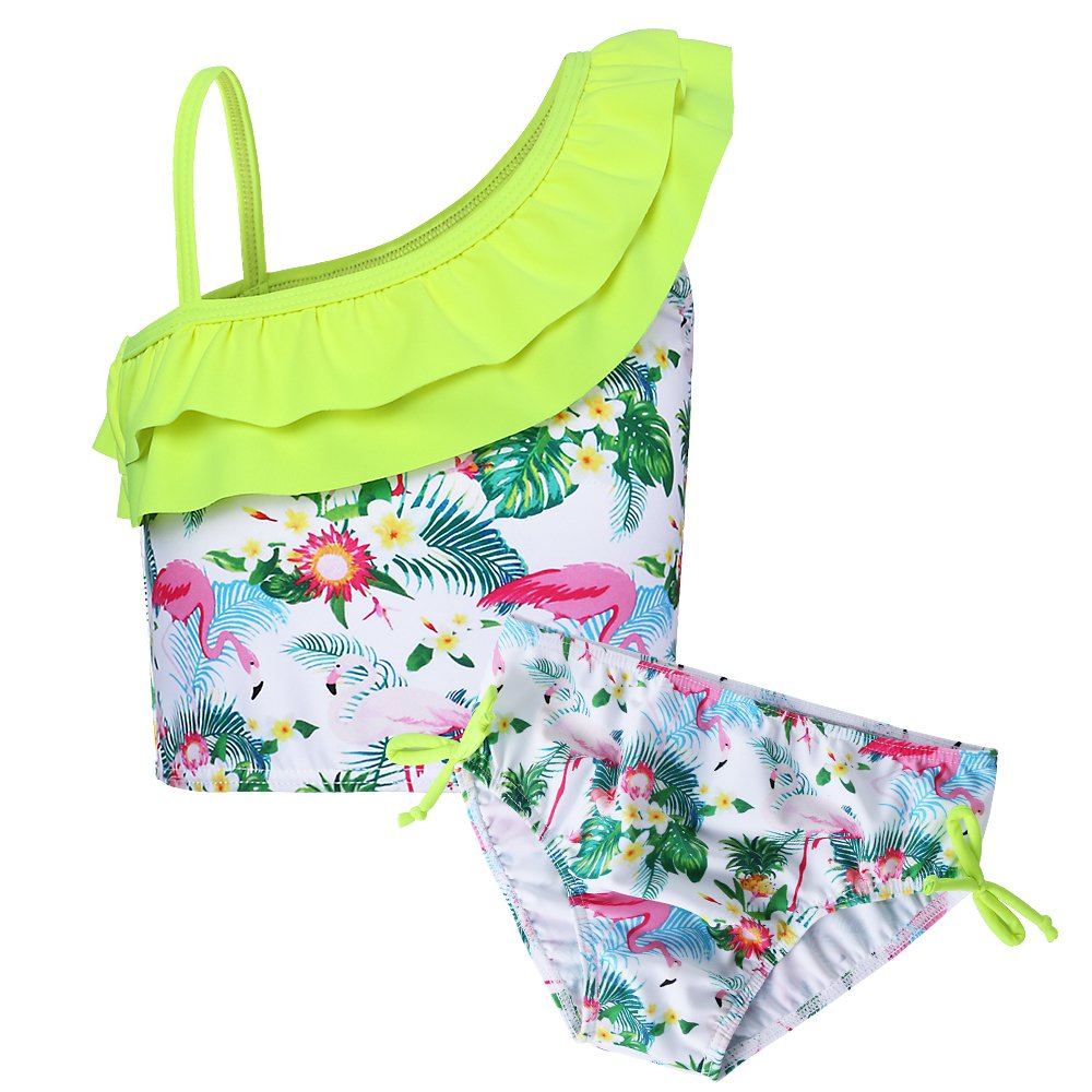 BAOHULU Little Girls Rash Guard Set Flower Tankini Swimsuit