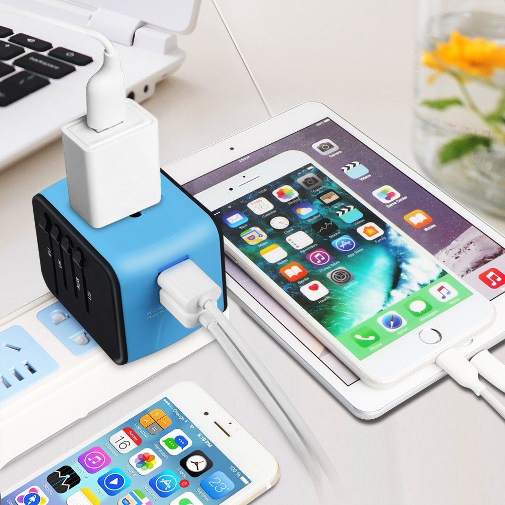 Universal Travel Adapter EU Travel Power Adapter Travel Wall Charger for US HAOZI All-in-one International Travel Charger with 2.4A Dual USB SLIronM-199 UK Green AU /& Asia Covers 150+Countries
