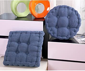 Vosarea 2pcs Seat Cushions with Ties Soft Chair Covers Pure Color Chair Pads for Home Office Restaurant 40cm Blue Grey