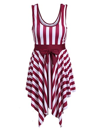 85ad24fc485d9 Vividy Women s One Piece Striped Slim Padded Swim Dress Bathing Swimwear  Women s One Piece Sailor Striped
