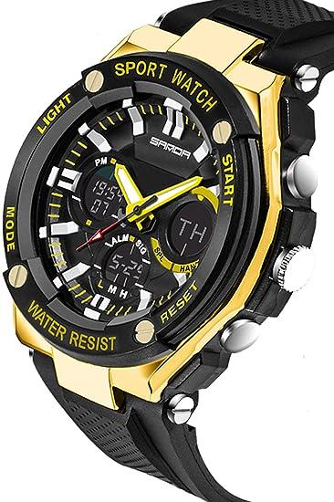 Sanda para hombre relojes Digital analógico Sports Big Face Military Casual negro dorado: Amazon.es: Relojes