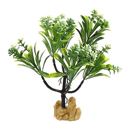 Sourcingmap® Planta Verde De Plástico Blanco De Las Flores del Árbol De Acuario Bajo El