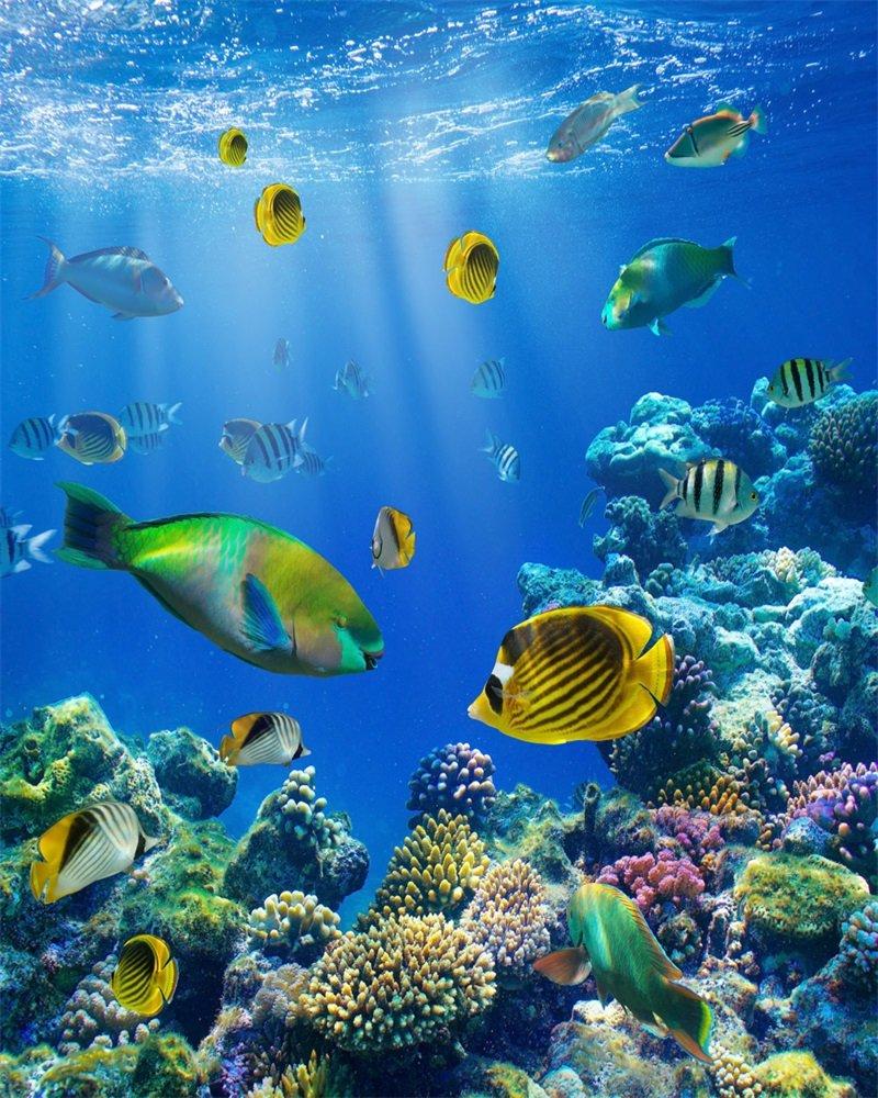 SUNNY Star 5 x 7ft telón de fondo mundo submarino acuario luces de vinilo Fancy Coral colorido pescado azul mar sol verano mar viaje océano vela fotografía ...