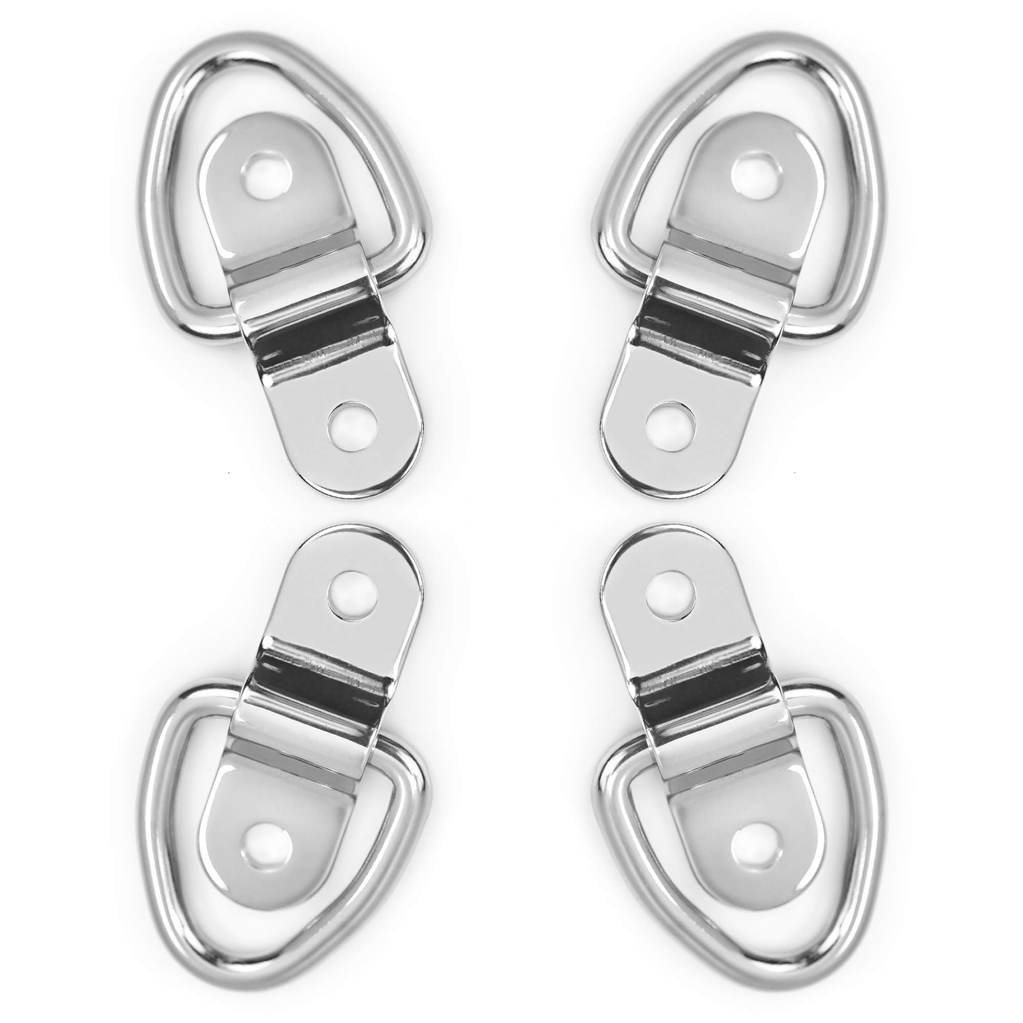 Divoti 4X Surgical Stainless Trapezoid D Ring Tie Downs Cargo Trailer Anchors Points, Surface Mounting Brackets - Surface-Mount/Bolt-on Applications by Divoti