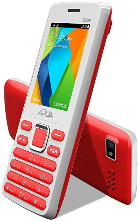8b842ab52f2 Aqua Shine - 2100 mAh Battery - Dual SIM Basic Mobile Phone - White+Red   Amazon.in  Electronics