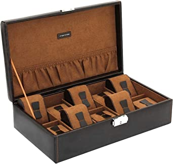 Estuche para 10 relojes Bond Friedrich Organizador de relojes color marrón sin ventanilla: Amazon.es: Relojes