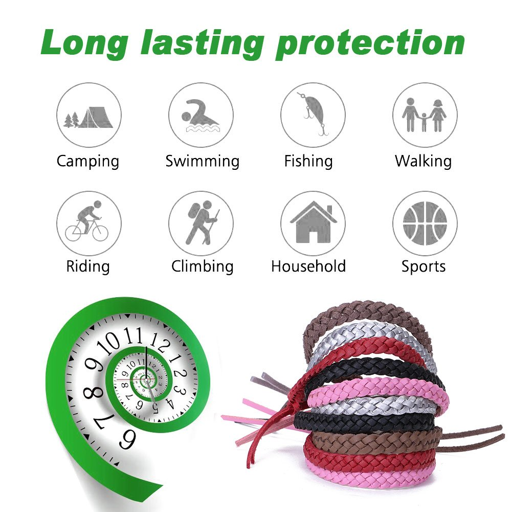 Mosquito Repellent Bracelet Wristbands for Kids and Adults Indoor and Outdoor Use 100% Natural Waterproof Mosquito Wrist Bands (10 of A Pack)