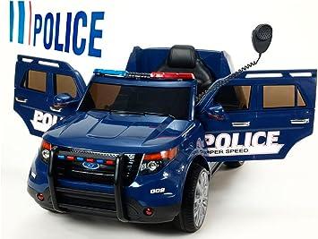 BC Babycoches-Coche electrico 12 V para niños Imitacion policia, Ruedas Caucho, Sirena, Luces moviles, megafono, Mando Parental. Color Azul.: Amazon.es: Juguetes y juegos