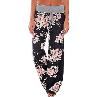 Kinikiss Mujer Pantalones Anchos Casual Floral Talle Alto Pantalón Yoga Jogging Deportivos Grandes M - 2XL: Ropa y accesorios