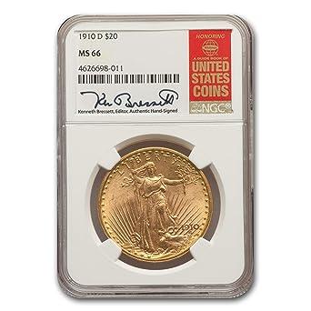 1910 D $20 Saint-Gaudens Gold Double Eagle MS-66 NGC G$20 MS