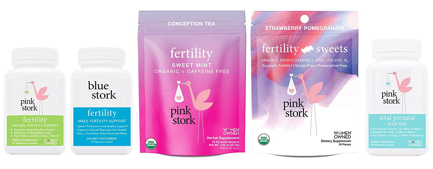 Pink Stork Premier Fertility Bundle: Couple's Conception Support with Tea, Supplements, and Sweets
