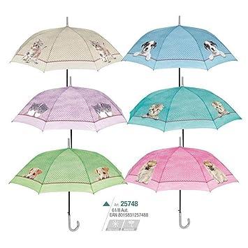 Paraguas mujer 61cm automatico y antiviento, Fantasia perros y gatos colores de Perletti