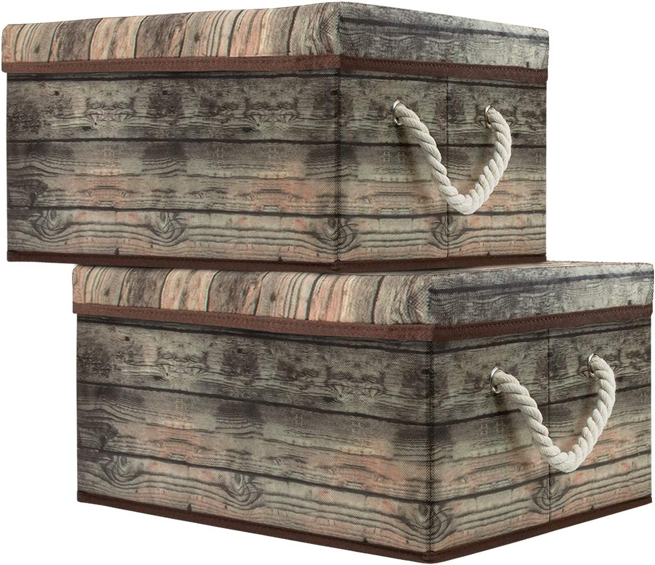 Sorbus Storage Box Set with Lid, Carry Handles, Foldable Frame, Rustic Wood Grain Print Bins, Great for Toys, Memorabilia, Closet, Office, Bedroom, 2-Pack (Wood Box Set - Brown)