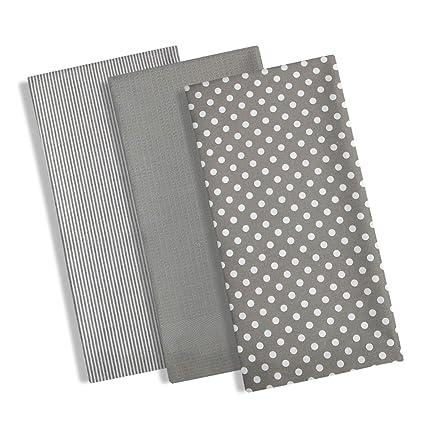 Set di 3 strofinacci da cucina, 100% cotone, design moderno con pois ...