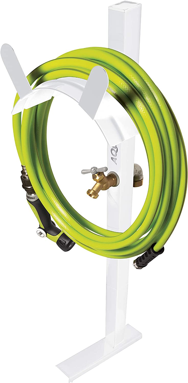 Aqua Joe SJ-SHSBB-WHT Garden Hose Solid Brass Faucet w/Quick Install Anchor Base, Free-Standing, White