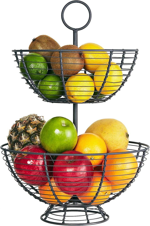 Large Round Countertop Fruit Bowl Basket Holder Stand for Bread Snacks Fruit Vegetable Black Suwimut 2 Pack Metal Wire Fruit Basket Modern Home Kitchen Counter Table Decor