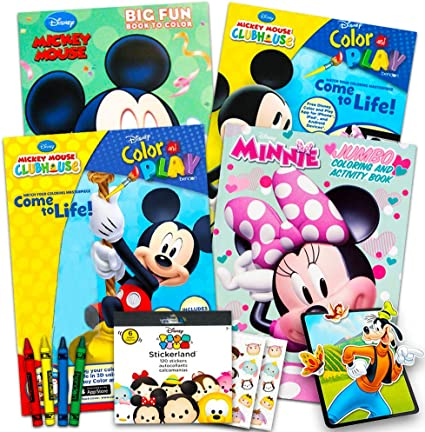 Amazon.com: Disney Mickey Mouse Coloring Book Super Set With Stickers (4 Mickey  Mouse Activity Books For Kids Toddlers): Toys & Games