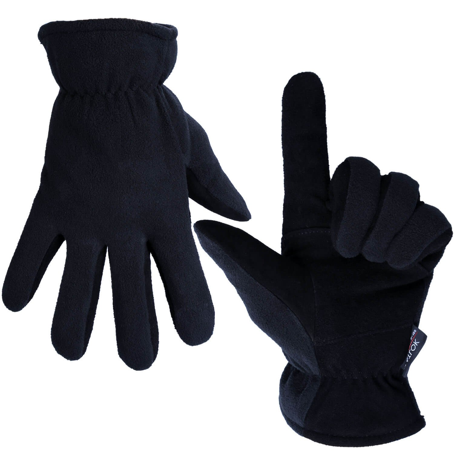 OZERO Deerskin Suede Leather Palm and Polar Fleece Back with Heatlok Insulated Cotton Layer Thermal Gloves, Medium - Denim-Black