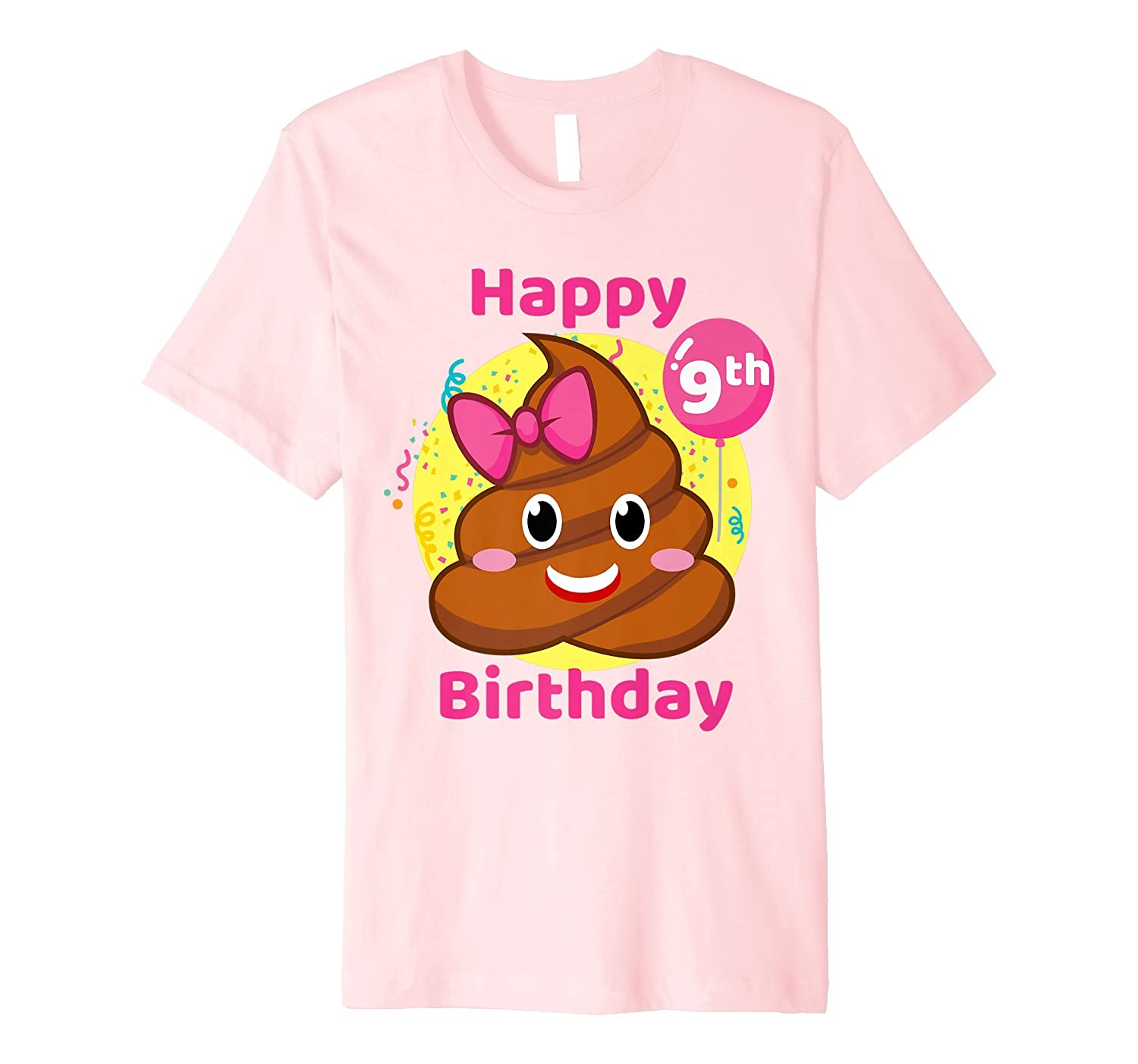 Pink Poop Emojis Birthday Shirt Girls 9th Party 9 Years Old Prm
